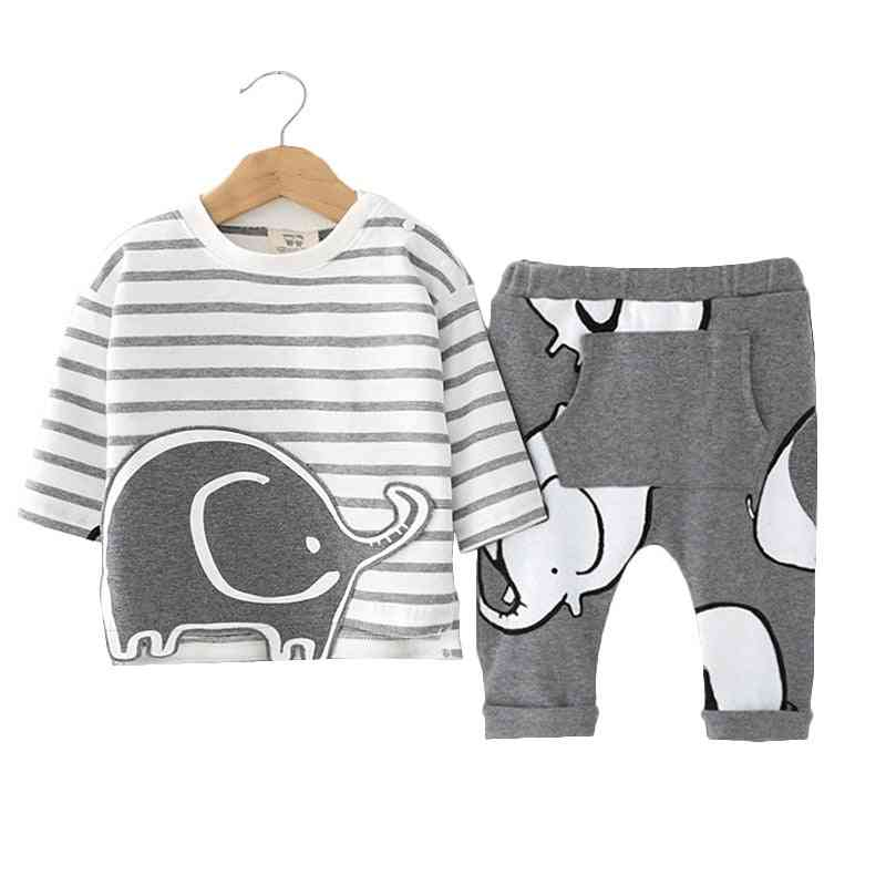 Cartoon Printed Romper Set With Hat And Pant Set For Newborn