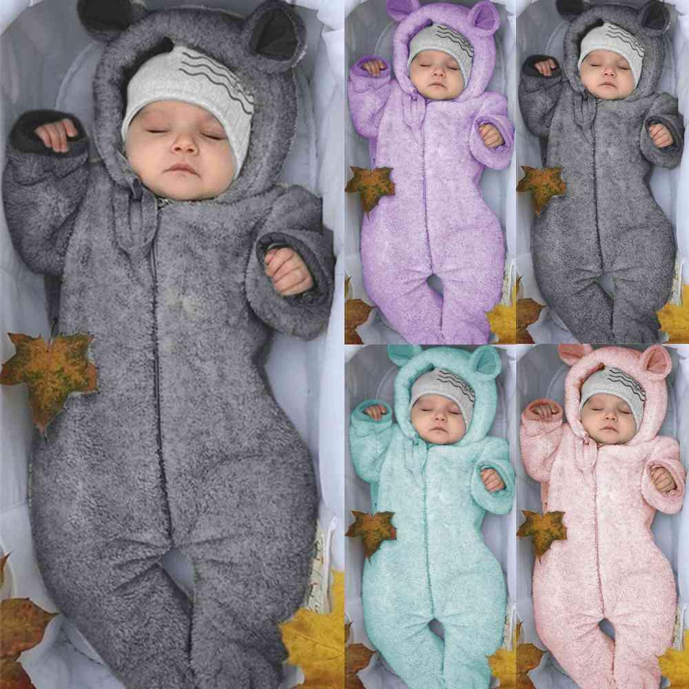 Newborn Baby Winter Fleece Jumpsuit-hooded Romper