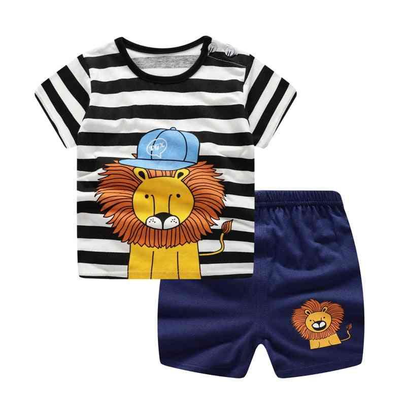 Casual Kids Sport Clothing Plaid- Lion Clothes Sets