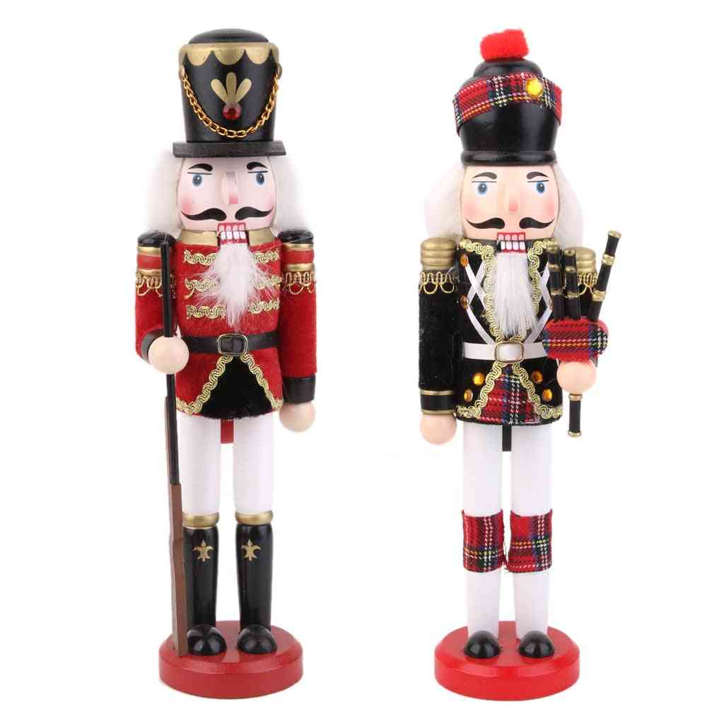 Wooden, Handmade, Nutcracker Soldier With Bagpipes - Home Decor