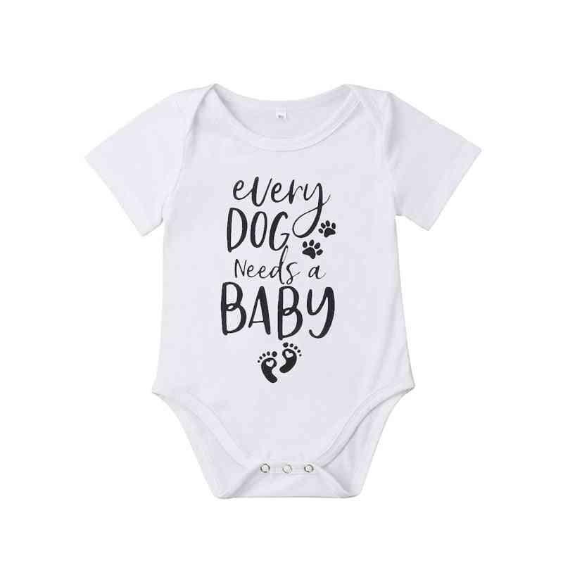 Newborn Kids Baby, - Foot Print Short Sleeve Romper Jumpsuit, Outfit Summer