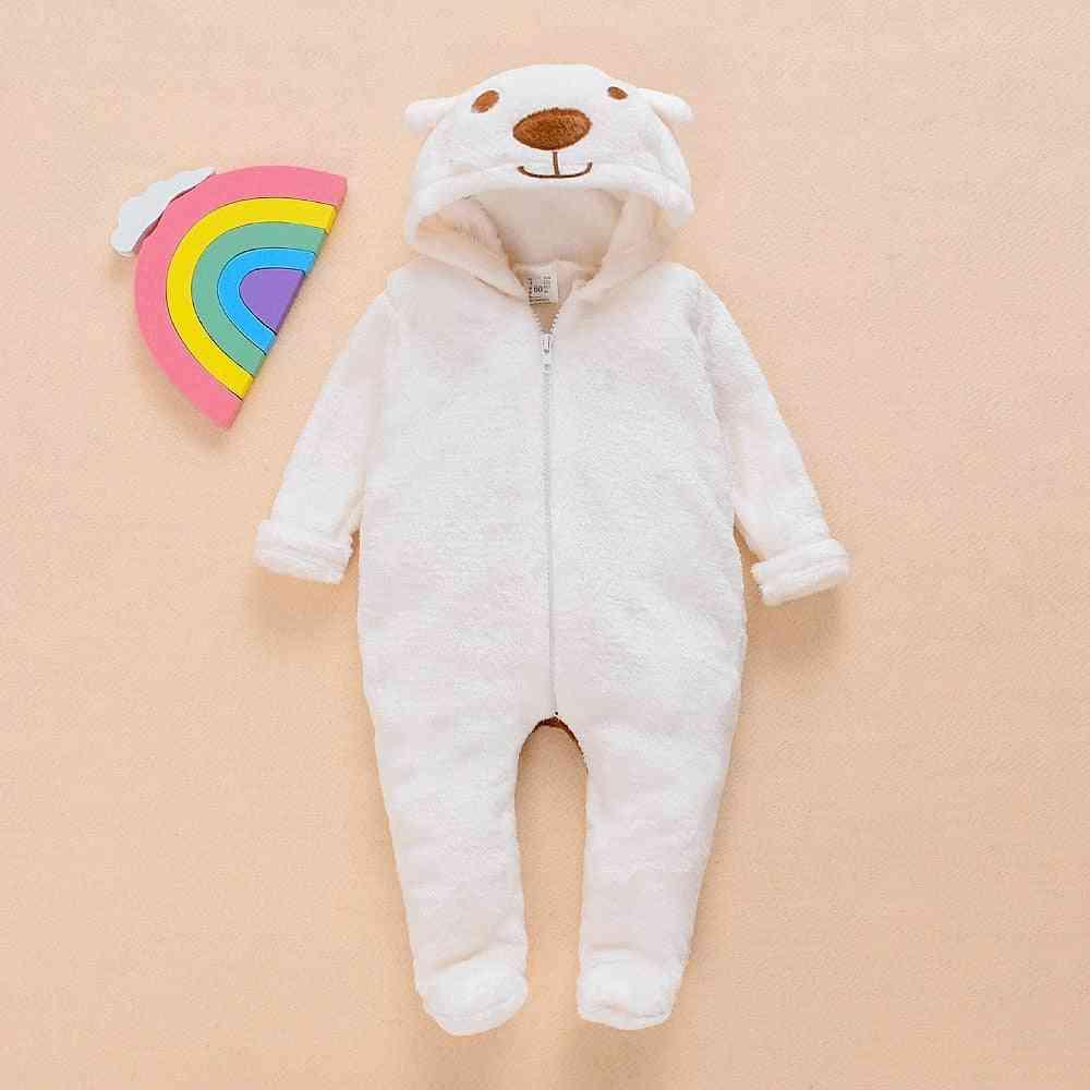 Winter, Baby Girl, Jumpsuit Fur, Cartoon Bear, Long Sleeve Zipper Hooded