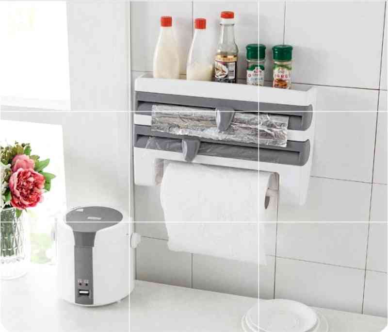 Wall Hanging Paper Towel Holder, Storage Rack And Wrap Cutter