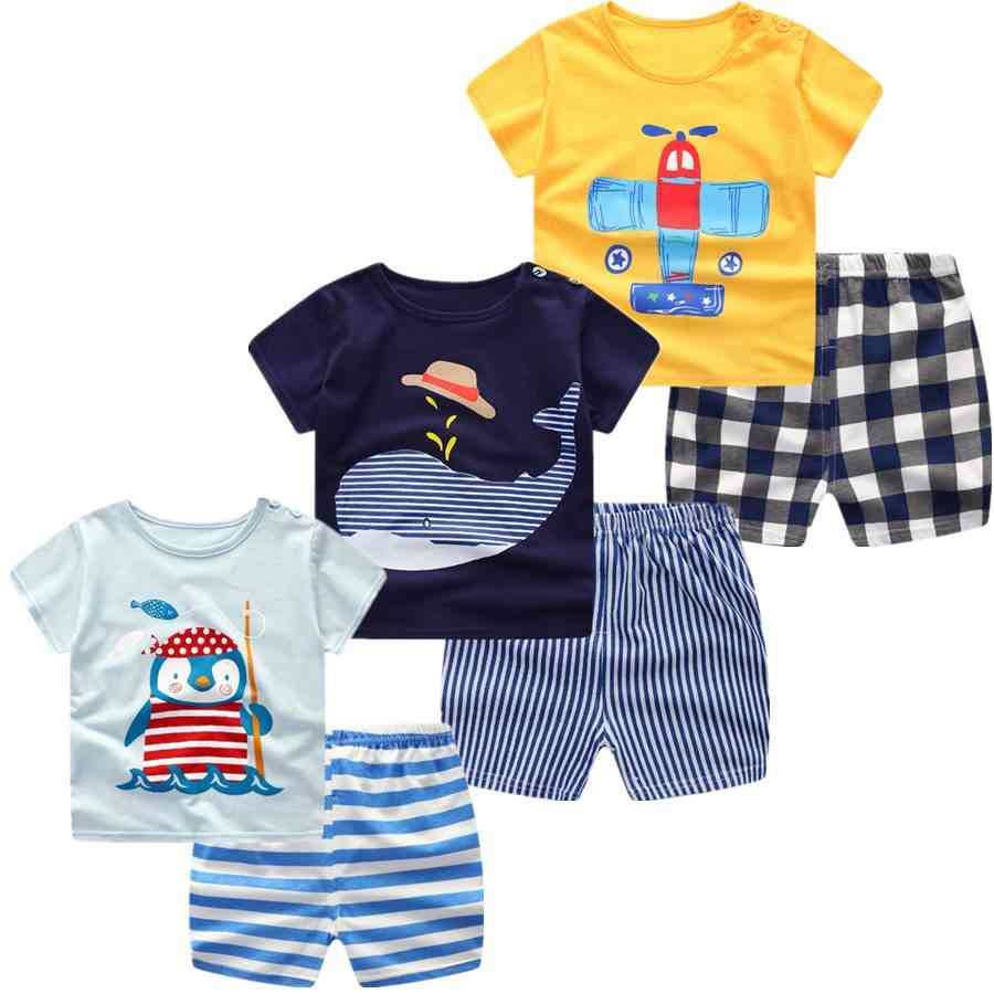 Summer Short Sleeve, Cartoon Printed T-shirts And Short Set For Babies