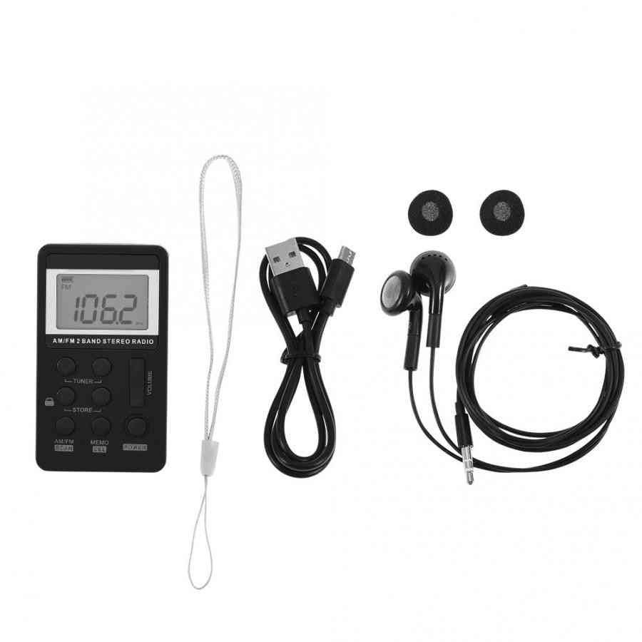Pocket Radio Receiver With Lcd Display- Earphone & Rechargeable Battery