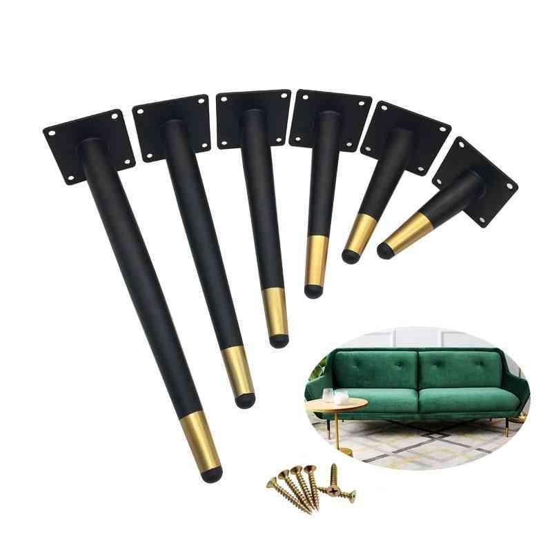 Furniture Table Legs, Black Gold Metal, Tapered Feet