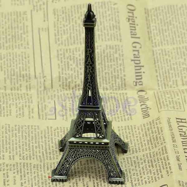 15cm Retro Alloy Bronze Tone Paris Eiffel Tower
