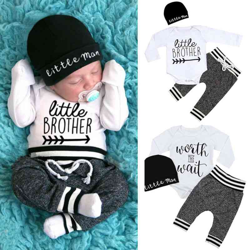 Newborn Baby Boy Clothes Long Sleeve Romper, Pant, Hats Outfit