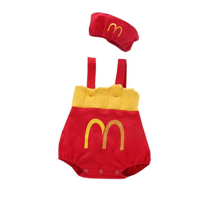 Baby / French Fries, Off Shoulder Straps Romper Jumpsuit