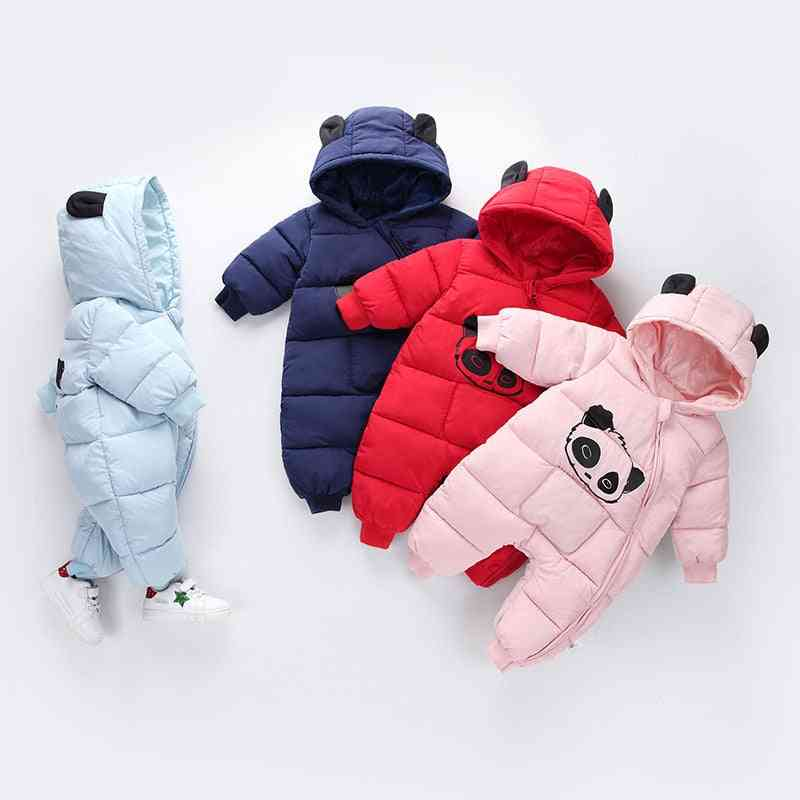 Cute Panda Design, Winter Hooded Rompers, Thick Warm Outfit For Newborn