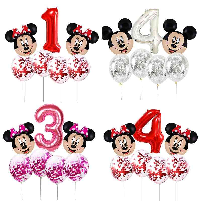 Mickey Mouse Head Shaped With Number-foil Balloons For Birthday Party Decorations