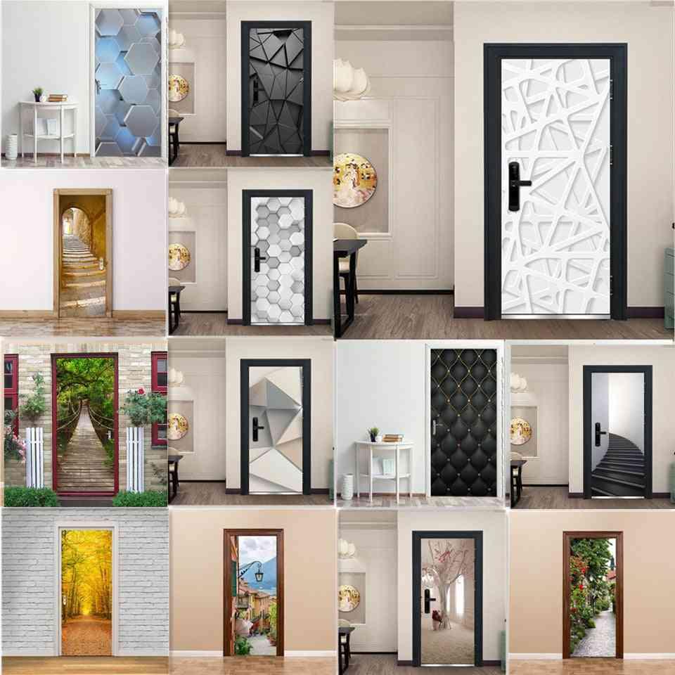 3d Door Decoration Wallpaper Modern Design Sticker, Self-adhesive Waterproof Poster