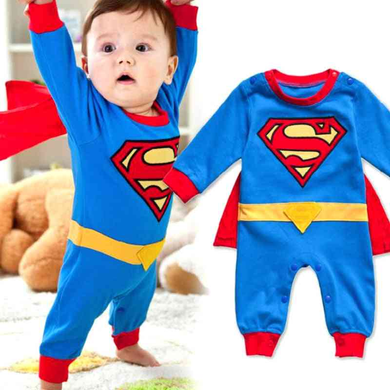 Baby Boy Romper Superman Long Sleeve With Smock Halloween Christmas Costume Spring Autumn Clothing