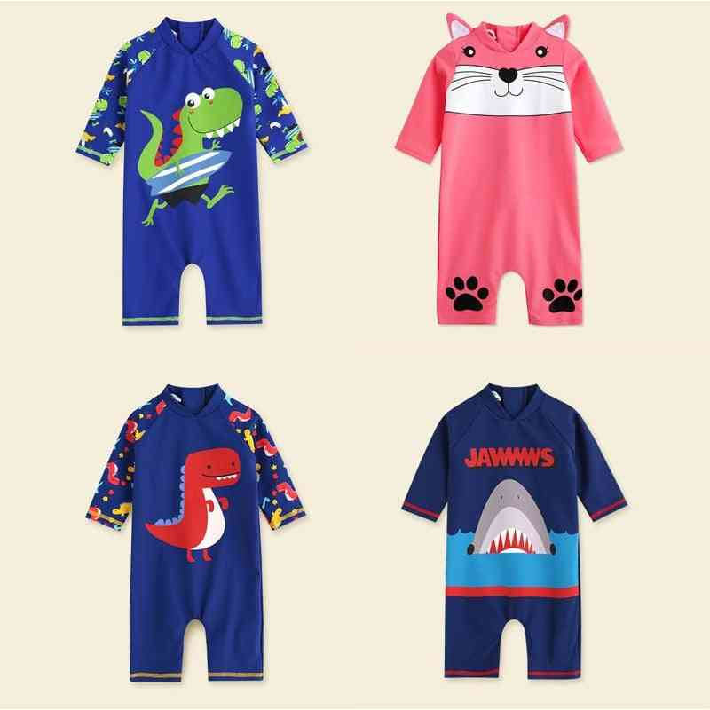 Cute Cartoon Printed-long Sleeve, One Piece Swimsuit For Kids