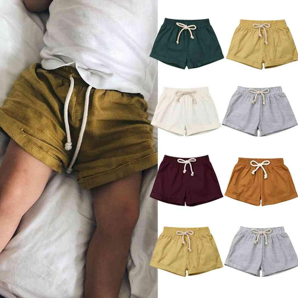 Summer,  Casual Lace-up Plain-cotton Shorts