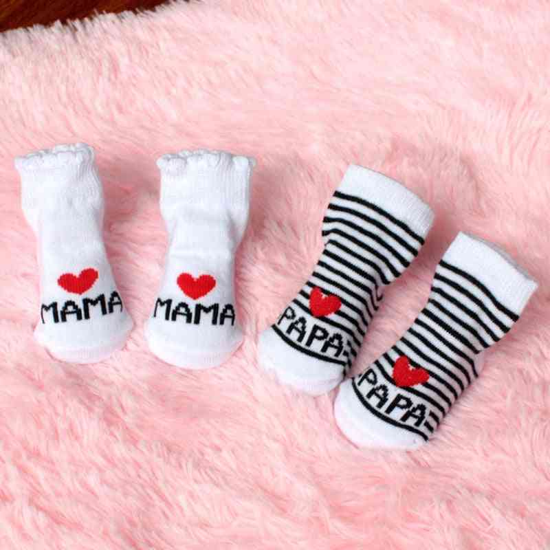 Lovely Soft, Stripe Cotton-love Mama/papa Socks For Newborn