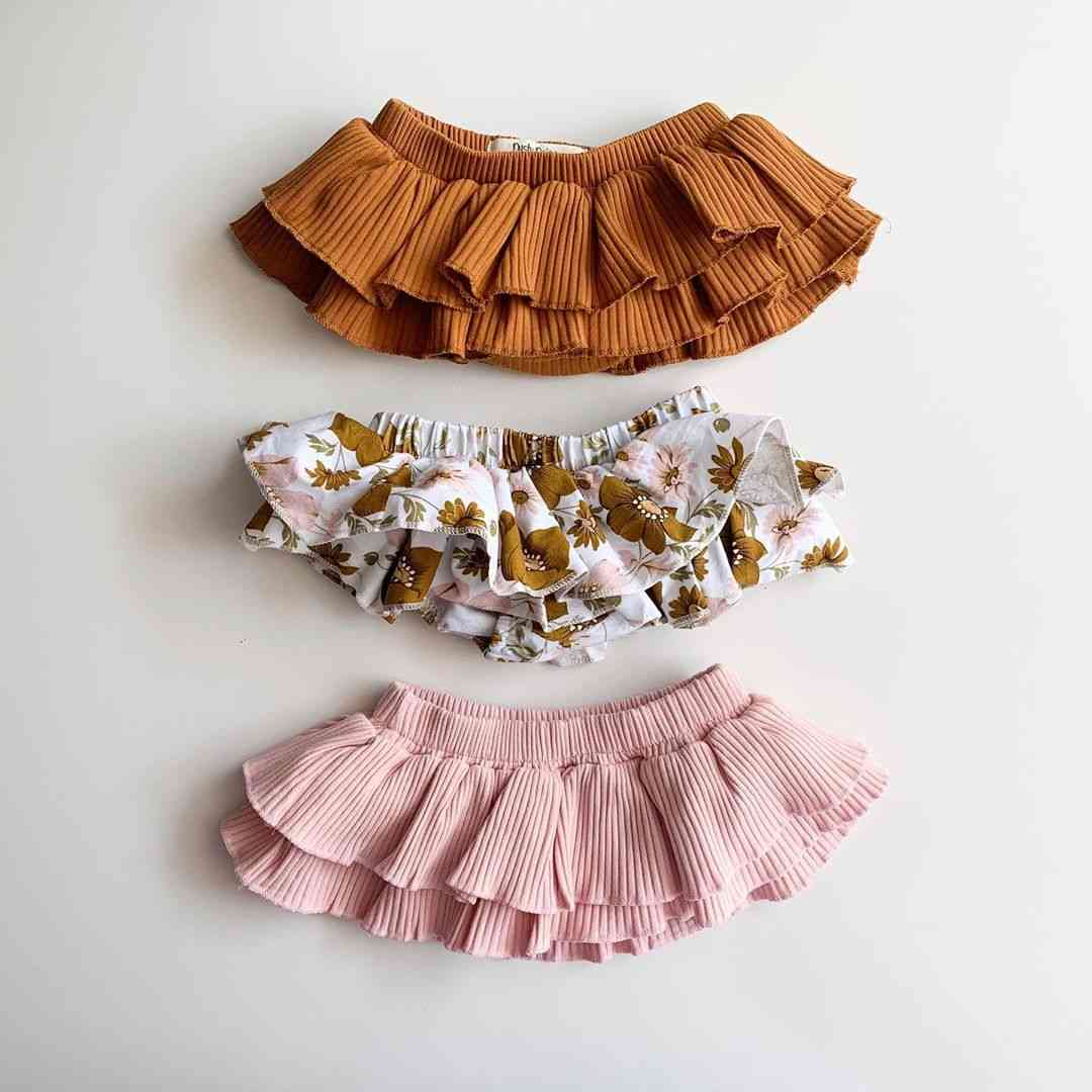 Newborn Floral/solid Print- Elastic Waist Skirt With Shorts