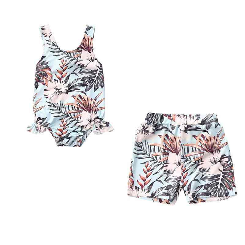 Ruffles Floral Print Swimwear/shorts For Kids