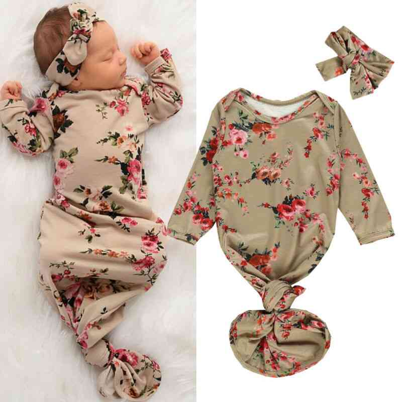 Newborn Baby Sleeping Bag Flowers Print Infant Blanket Swaddle Wrap Gown Headband