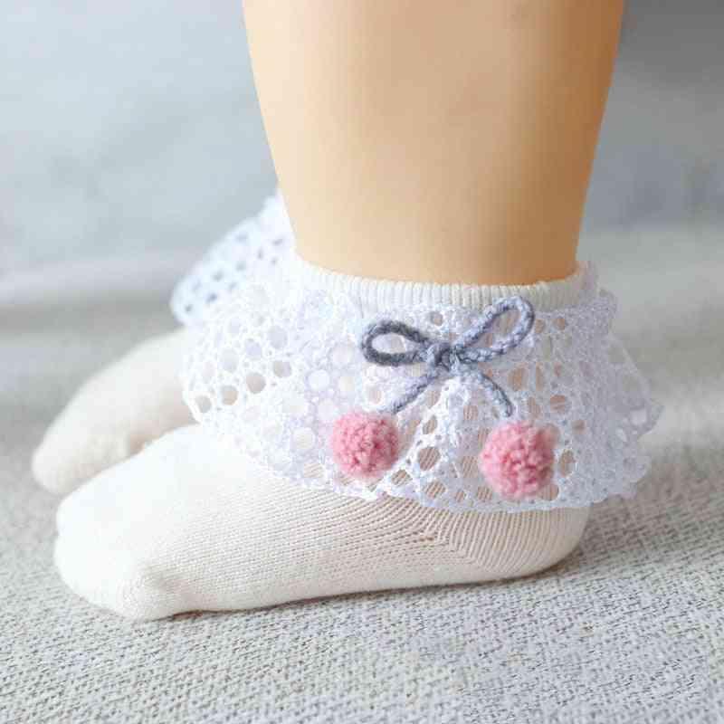Spring & Autumn Cute Lace Flower Bows Newborn Baby Girl Socks