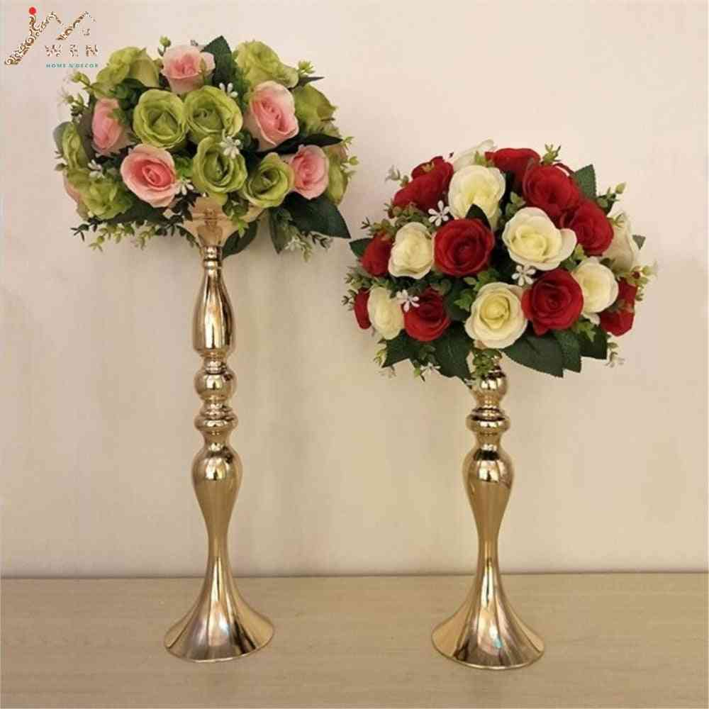 Metal Candlestick Flower Vase Table Centerpiece Candle Holders
