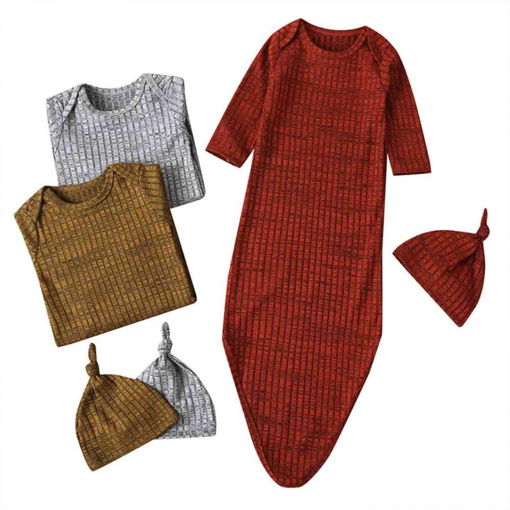 Newborn Baby Girl / Boy Striped Wrap & Hat Clothes