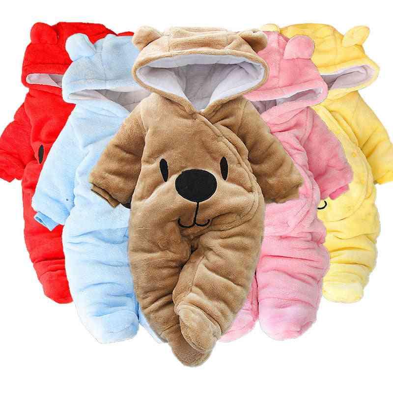 Newborn Baby Girl Cartoon Bear Jumpsuit - Thick Warm Romper