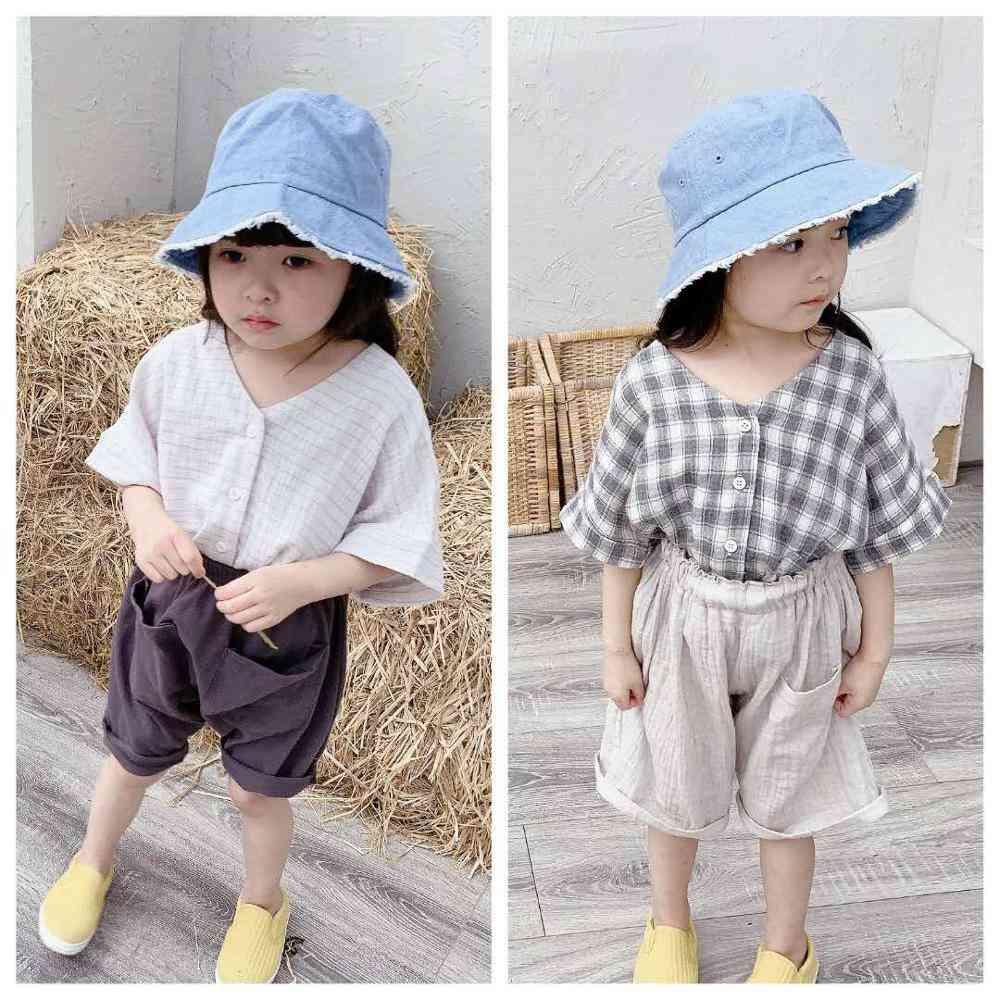 Girls Summer Dress, Plaid Raglan Short Sleeves Shirt