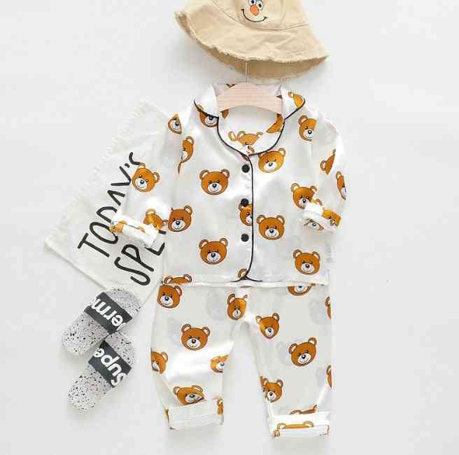 Cartoon Printed, Pajamas And Long Sleeved Shirt-nightwear For Kids