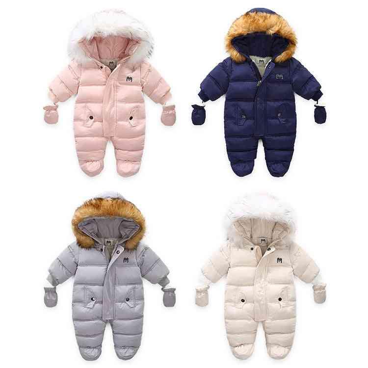 Children Winter Jumpsuit, Fur Hood Snowsuit