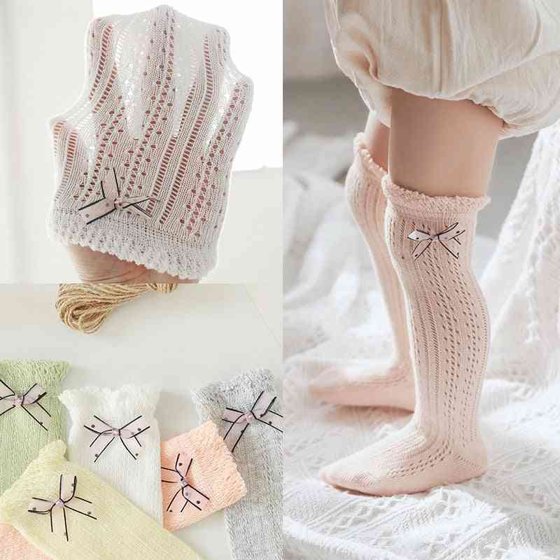 Breathable Mesh, High Knee Socks With A Bow Knot For Newborn