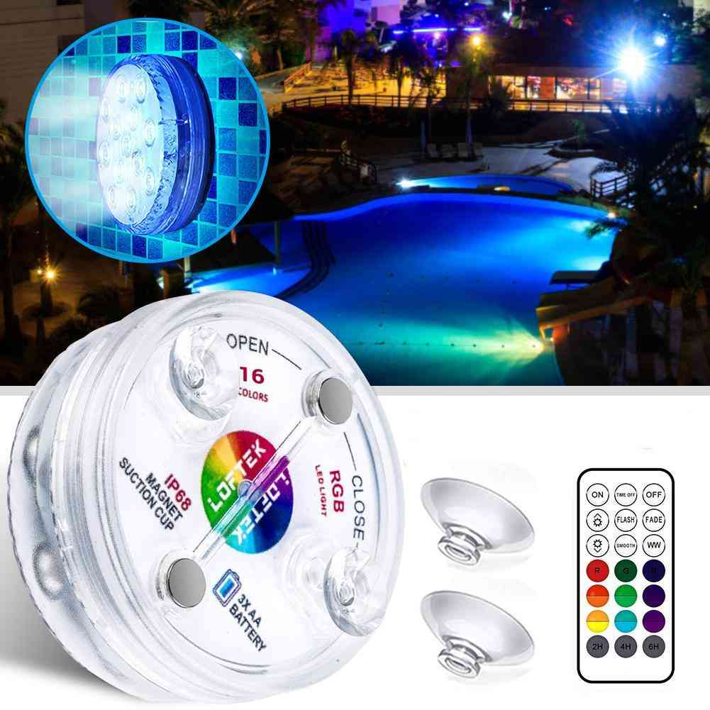 Underwater Led Rgb Light Lamp, With Rf Remote And Suction Cups