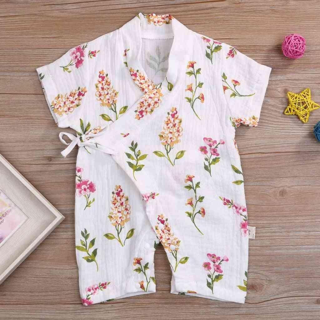 Newborn Infant Short Sleeve Cartoon Japanese-style Yarn Kimono Jumpsuit Sleepwear Rompers Pajamas