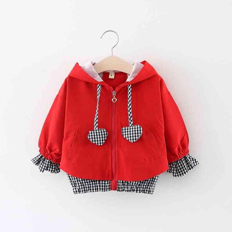 Children Hooded Zipper Windbreaker, Baby Heart Shape Plaid Coat Infant Outerwear Hoodies