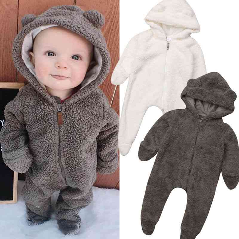 Newborn Baby Winter Long Sleeve Solid Color Soft Warm Fuzzy Hooded Romper Jumpsuit Outfits Clothes