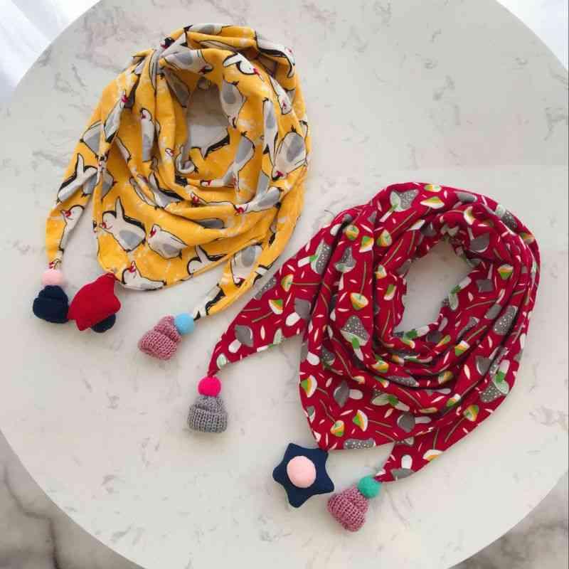 Baby Triangle Bib Scarves - Autumn Winter Shawl, Cotton Neck Collars Warm Kids Neckerchief