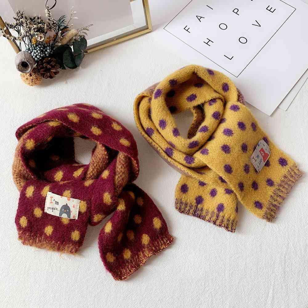Polka Dot Pattern Woolen Scarf For Kids