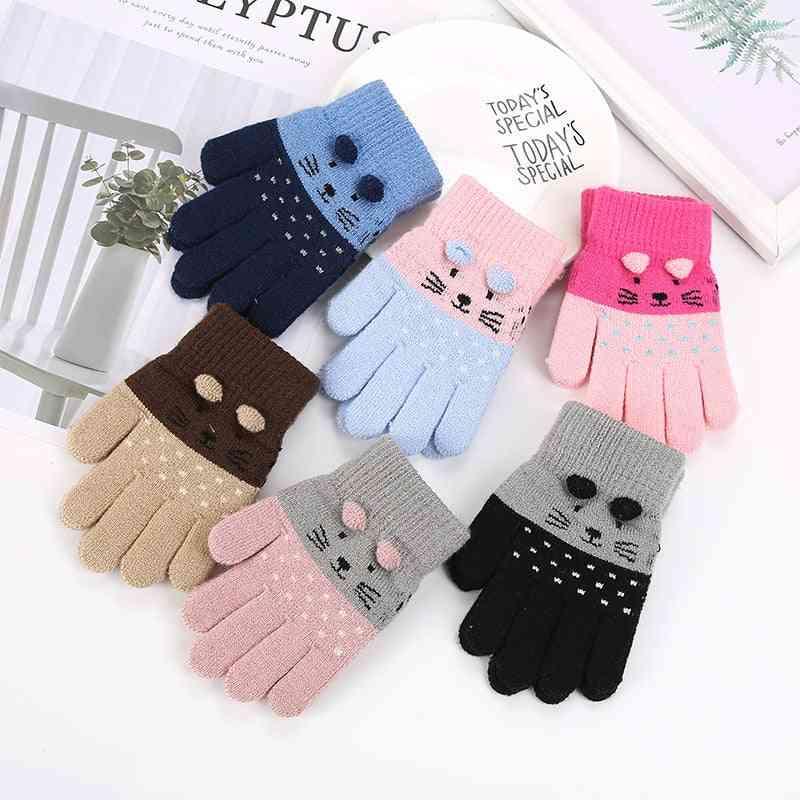 Cartoon Pattern, Woolen Gloves- Cute Cat Mittens