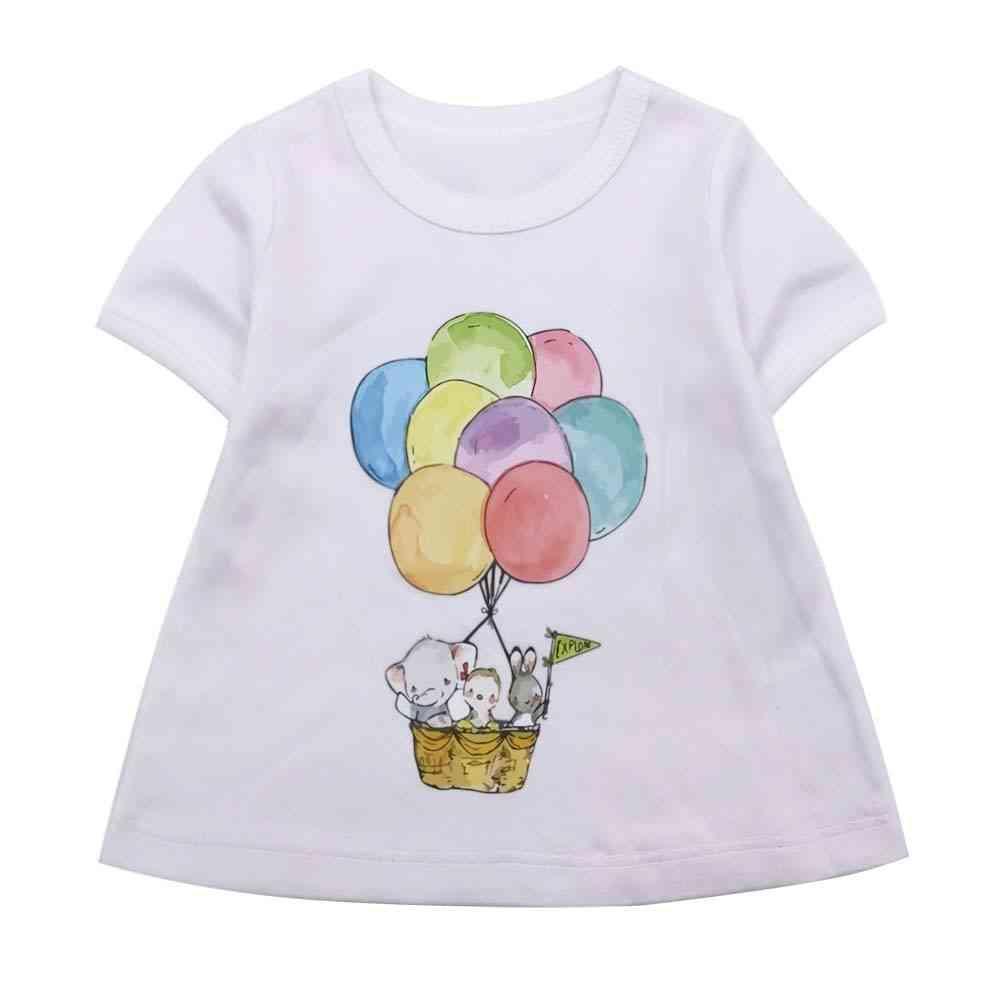 Balloon Printed, Short Sleeved Cotton Top