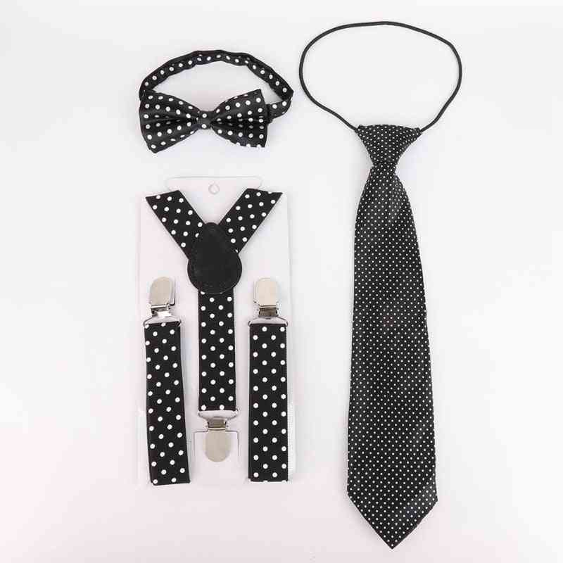 Polka Dot Pattern, Elastic Band, Bow Tie And Necktie Kit For Kids