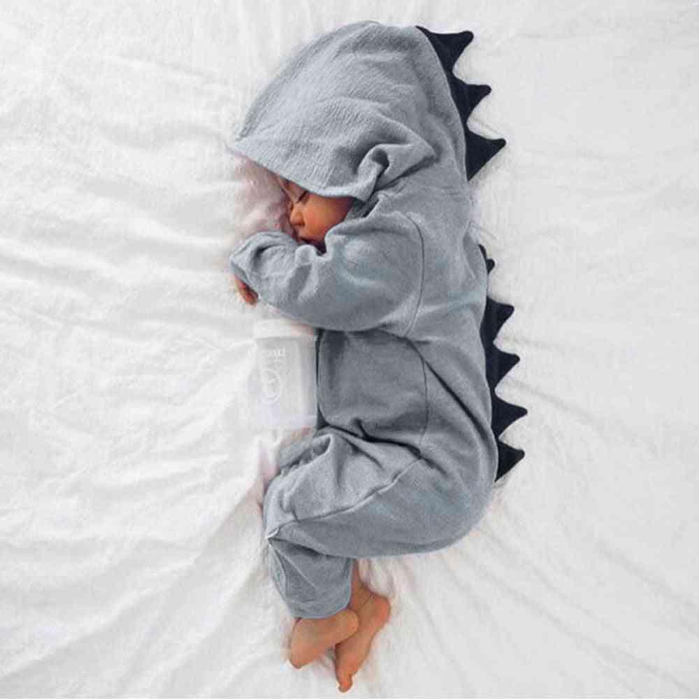 Baby Boy, Dinosaur Playsuit, Hooded Cotton, Long Sleeve Romper, Jumpsuit