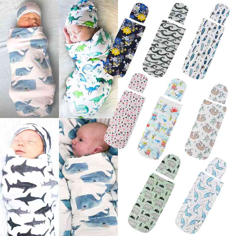 Printed Warm Sleeping Swaddle And Hat