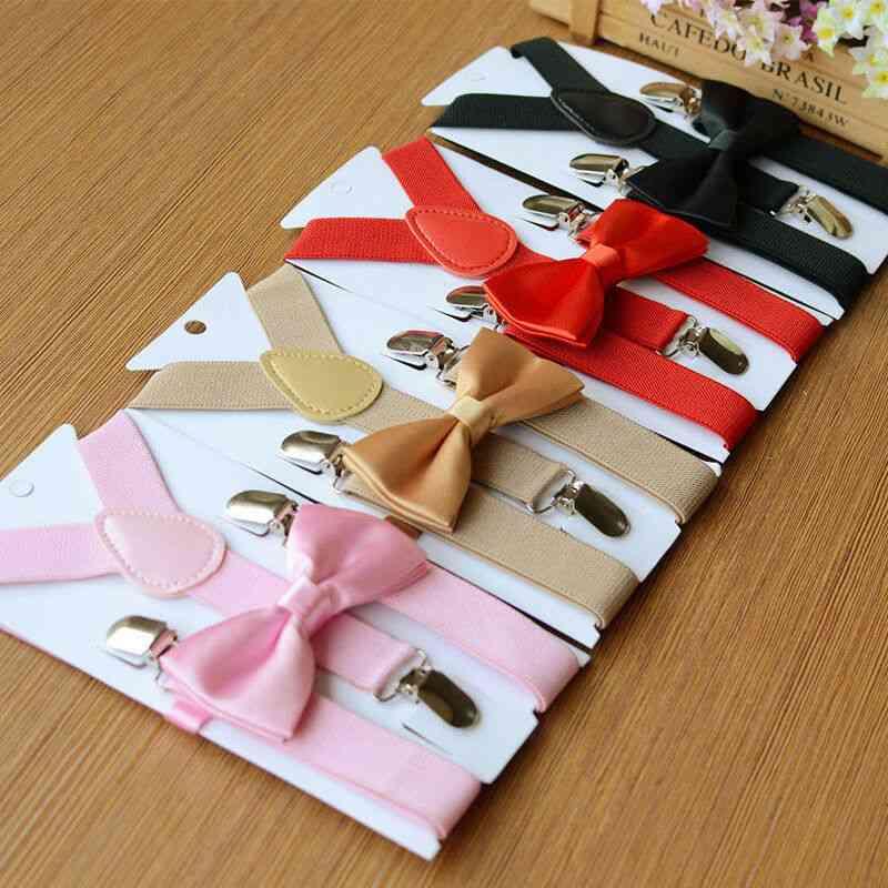 Adjustable Suspenders, Elastic Braces And Bow Tie