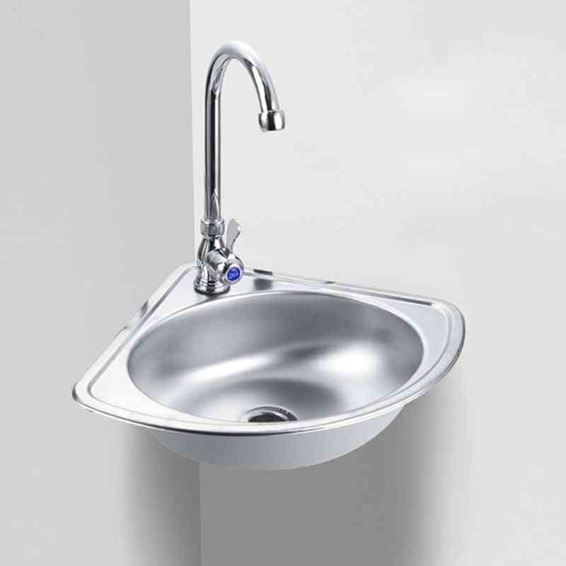 Corner Wall Mounted - Stainless Steel Triangle Basin