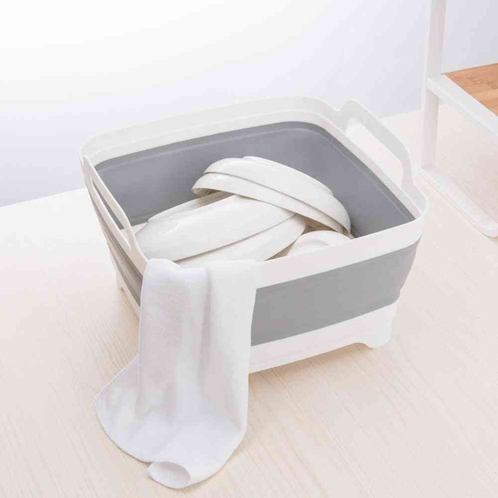 Portable And Fold-able Plastic Wash Bucket, Creativekitchenclean Tool