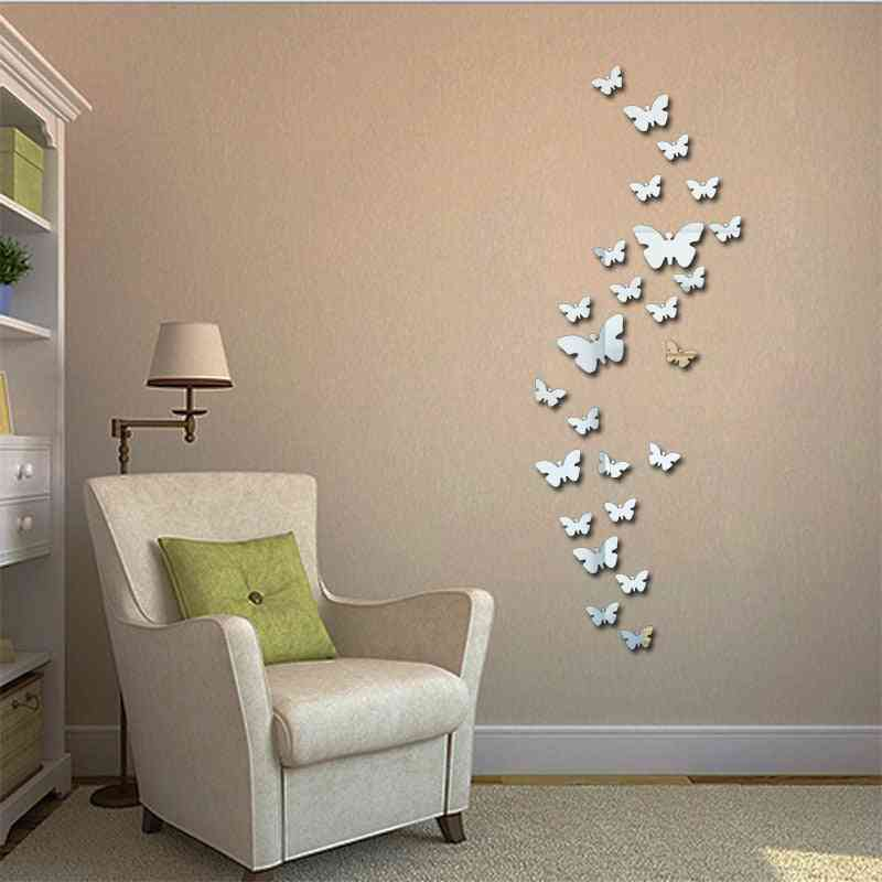 Butterfly Frame Clock Mirror Surface Wall Stickers