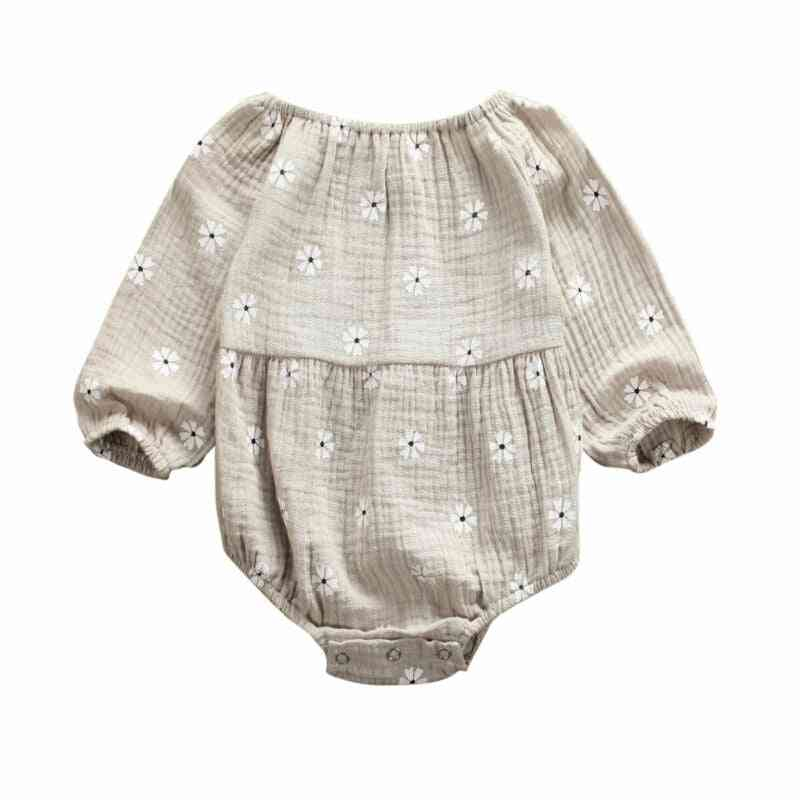 Cotton Linen Long Sleeves Off Shoulder Floral Bodysuit Jumpsuit For Newborn Baby