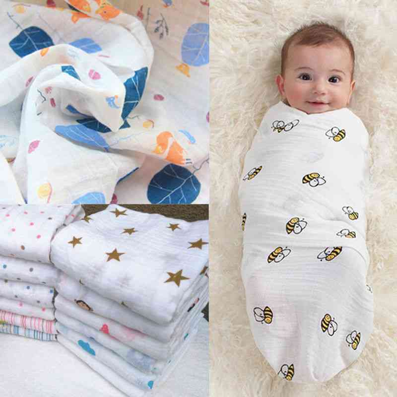 Cute Nursery Baby Swaddling Blanket, Newborn Infant Cotton Swaddle Towel