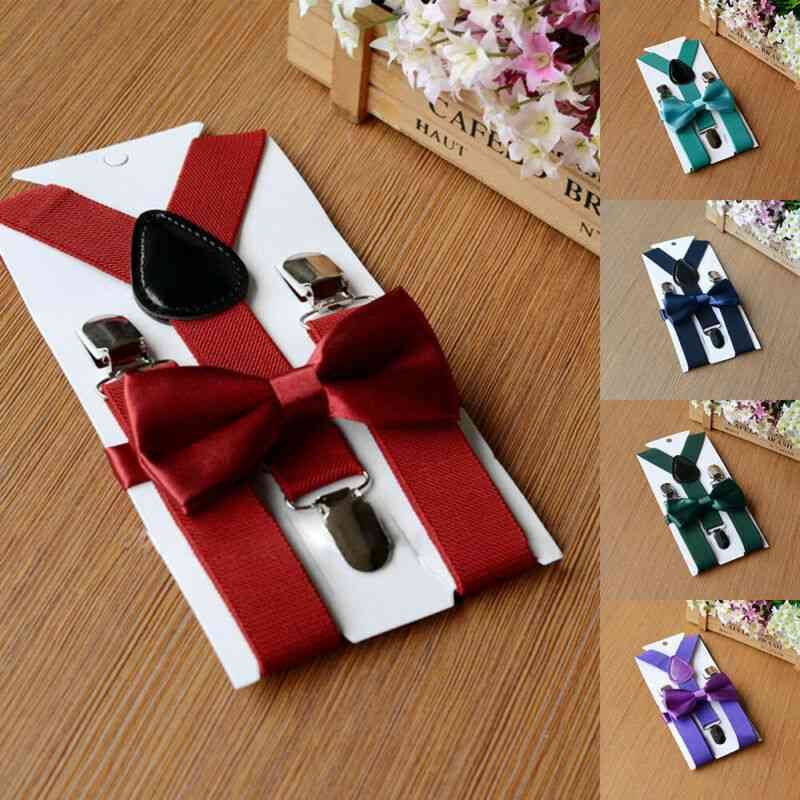 Back Bowtie Belt Velvet Bow Tie - Suspenders Braces Sets For Baby Boy