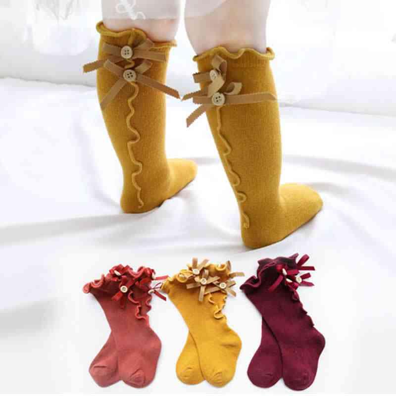 Kids Leg Warmers, Cotton Lace Bowknot Socks